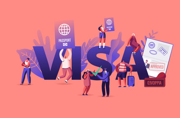 People Getting Visa Concept. Travelers and Tourists Making Document for Leaving Country and Travel Abroad. Foreign and Native Passport Poster Banner Flyer Brochure. Cartoon Flat Vector Illustration