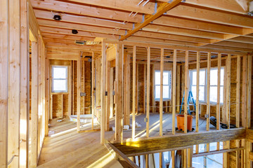 New residential home framing interior view construction new house