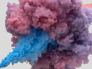 水中の絵の具 青対ピンク 前後の衝突③