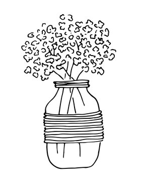 Bouquet flowers in glass jar, black lines art, isolated on white background. Illustration for invitation, greeting cards, wedding decor.