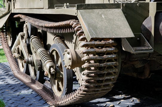 Continuous track of ww2 army tank