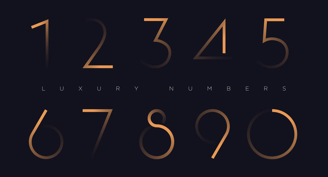 Golden line numbers vector font alphabet, modern minimal luxury flat design for your unique design elements ; logo, corporate identity, application, creative poster & more EPS