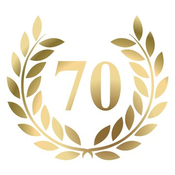 seventieth birthday gold laurel wreath vector isolated on a white background