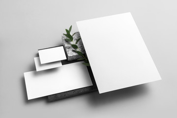 Real photo, stationery branding mockup template to place your design, isolated on light grey background, with marble, granite, gloden and floral elements.