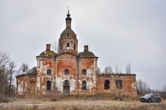 Abandoned Savior Church in Saltykovo, an inactive Christian church, an abandoned church