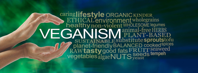 The basics of Veganism Word Cloud - female hands cupped around the word VEGANISM surrounded by a VEGANISM word cloud on a blue green modern abstract background