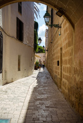Street with colorful houses in old town of Ciutadella, Menorca, Balearic Islands, Spain, September, 2019