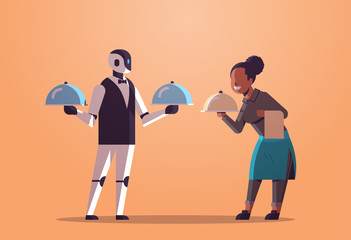 Wall Mural - robotic waiter with waitress holding tray with dish robot vs human restaurant workers in uniform artificial intelligence technology food serving concept flat full length horizontal vector illustration