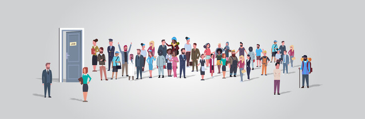 businesspeople candidates standing in line queue to door office hiring job employment concept different occupation workers group waiting for interview horizontal full length vector illustration Fotobehang