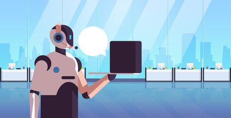 Wall Mural - robotic operator consultant using laptop chat bubble client support call center concept artificial intelligence technology modern office interior portrait horizontal vector illustration