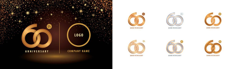 Set of 60th Anniversary logotype design, Sixty years anniversary celebration