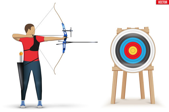 Archer with Bow Archery and Target. Athlete Archer Man Aiming an arrow. Infographics of Archery Sport Equipment. Vector Illustration isolated on white background.