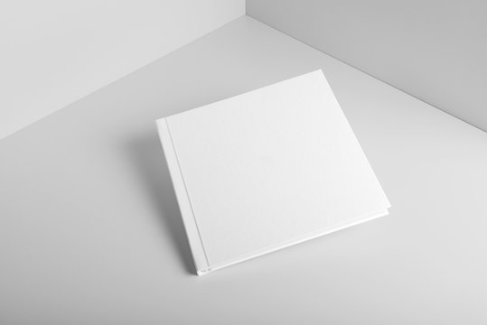 Blank square brochure magazine mockup template isolated on grey, with changeable background