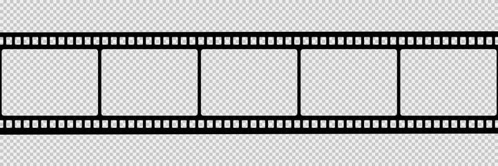 Film strip isolated vector icon. Retro picture with film strip icon. Film strip roll. Video tape photo film strip frame vector.