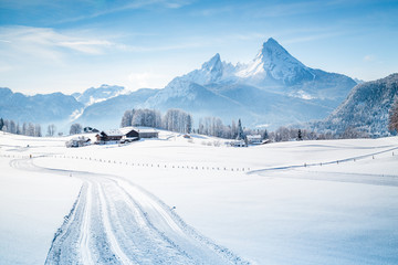 Wall Mural - Winter wonderland scenery with trail in the Alps