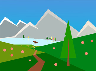 Spring landscape clip art, road to mountain lake with boat between green hills, flowers, trees, peaks, springtime concept. Path through near spruce, geometric artwork, triangles, illustration. Travel