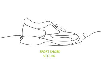 Sports shoes in a line style.Vector illustration of sneakers. Sketch sneakers for your creativity.