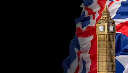 British union jack flag and Big Ben Clock Tower