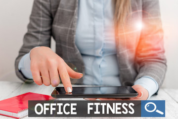 Text sign showing Office Fitness. Business photo showcasing Encouraging fitness and balance lifestyle in the workplace Business concept with communication mobile phone