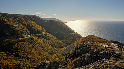 Cabot Trail in the Cape Breton Highlands National Park during Autumn in Nova Scotia, Canada.