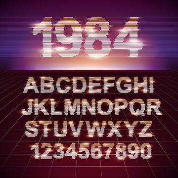 Retro CRT screen Futuristic Movie Font. Stylish Retro Synth Wave Alphabet in 80s style. Vector font on laser grid background