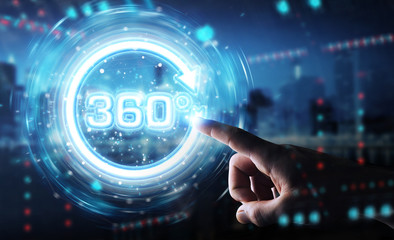 Man hand using 360 degree virtual reality neon interface 3D rendering