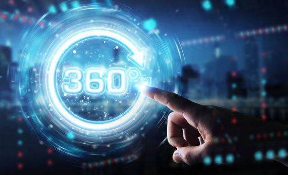 Man hand using 360 degree virtual reality neon interface 3D rendering