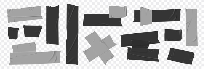 Set masking tape. Torn tape. Vector realistic black adhesive and grey masking tape pieces. Isolated vector illustration