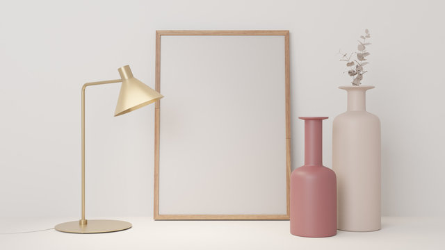 Empty white mockup poster photo frame, clean minimal trendy interior on table with vase and gold lamp
