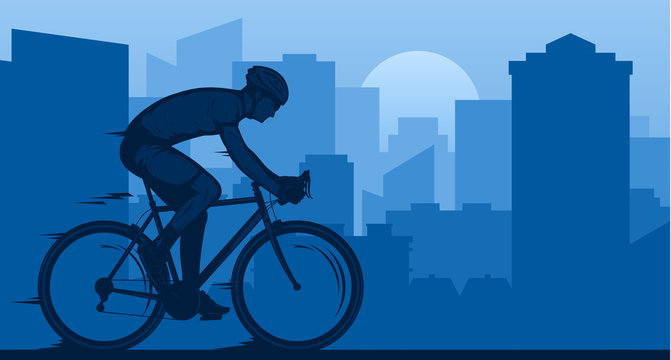 Vector biking illustration with a cyclist on a sportbike on a city road