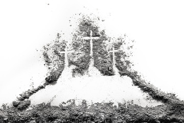 Three cross on Golgota hill drawing made of ash or dust as christian religion, God sacrifice, Good Friday, Ash Wednesday, Easter, Jesus Christ or Lent concept