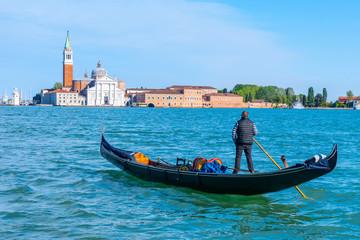 Foto op Aluminium Gondolas Gondola on the background of San Giorgio Maggiore in Venice, Italy