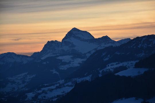 Coucher de soleil Alpes Megève Haute Savoie France