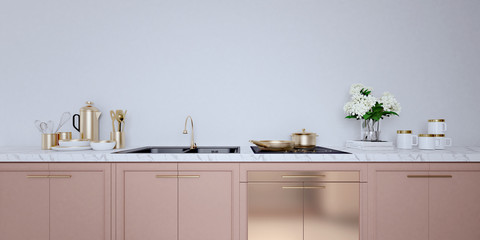 Rose gold color kitchen interior with white wall,white countertops.A close up.3d rendering mock up Papier Peint