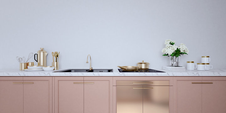 Rose gold color kitchen interior with white wall,white countertops.A close up.3d rendering mock up