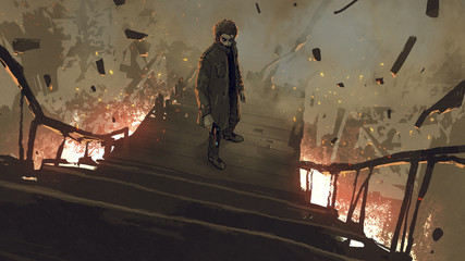Foto op Plexiglas Grandfailure a man in coat with his gun standing on burning stairs, digital art style, illustration painting