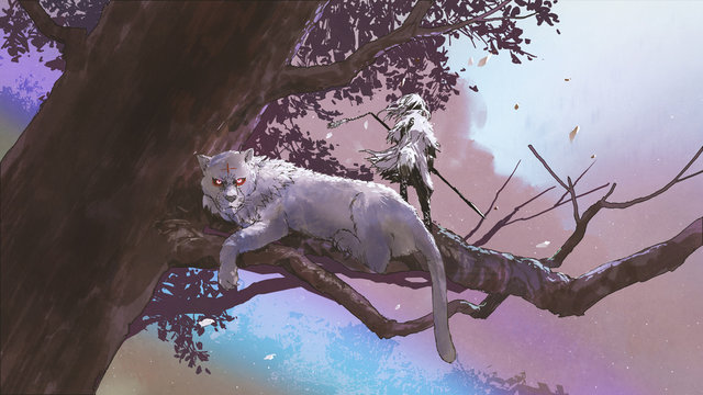 little girl with a magic spear standing near her tiger on a big tree, digital art style, illustration painting