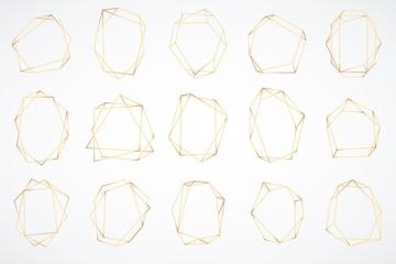 Gold polygonal frames. Elegant geometric polyhedron art deco style for wedding invitation card, decorative trendy glamour borders vector set