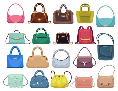 Leather handbags. Woman colorful luxury modern hand bag with handle, beautiful clutch and accessory vector set