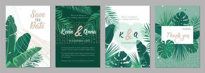 Wedding invitation floral template vector background. Tropical pattern frames in trendy minimal flat style for graphic design