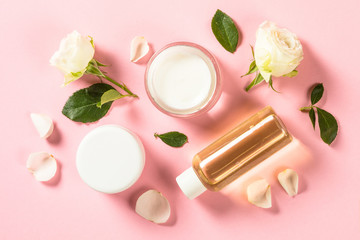 Natural cosmetics with rose oil.