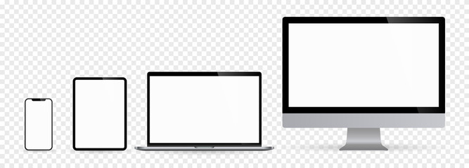 Realistic set monitors desktop laptop tablet and phone with white screen and checkerboard background. Isolated illustration vector illustrator Ai EPS