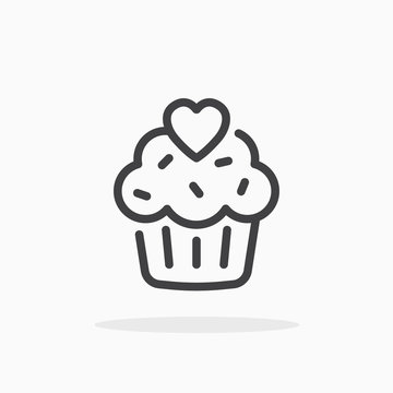 Cupcake with heart icon in line style.