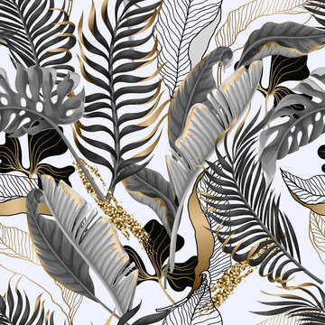 Seamless pattern with black and white tropical leaves and golden elements. Vector.