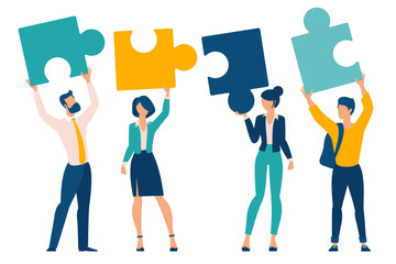 Flat design business neamwork concept. Team solution metaphor. Young buciness people solving puzzle, symbol of teamwork. Modern vector template for infographics, website, presentation and mobile app. Wall mural
