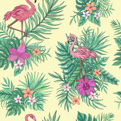 Vector trendy seamless pattern with flamingo, palm leaves, hibiscus and plumeria. Summer decoration print for wrapping, wallpaper, fabric. Seamless vector texture. Tropical bouquet flowers.
