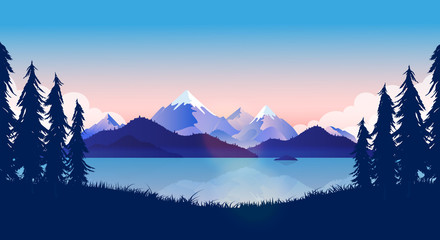 Foto auf Acrylglas Blau Nature background illustration. By the lake with view of the ocean and mountains reflecting in the water. Trees and grass in front. Calm, peaceful, beautiful landscape concept. Vector.