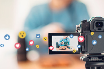 Social influencer creating online content for channel, Filming, vlog.