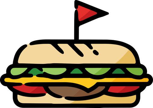 Deli Sub Sandwich Doodle Sketch Icon