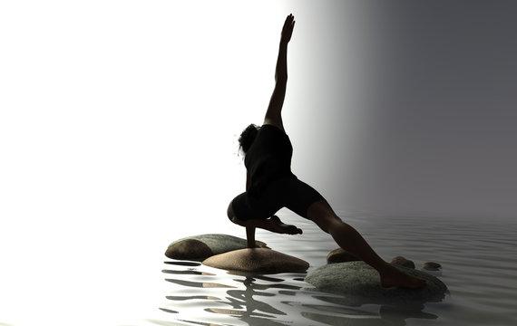 silhouette of man practicing yoga, balancing on rocks in water